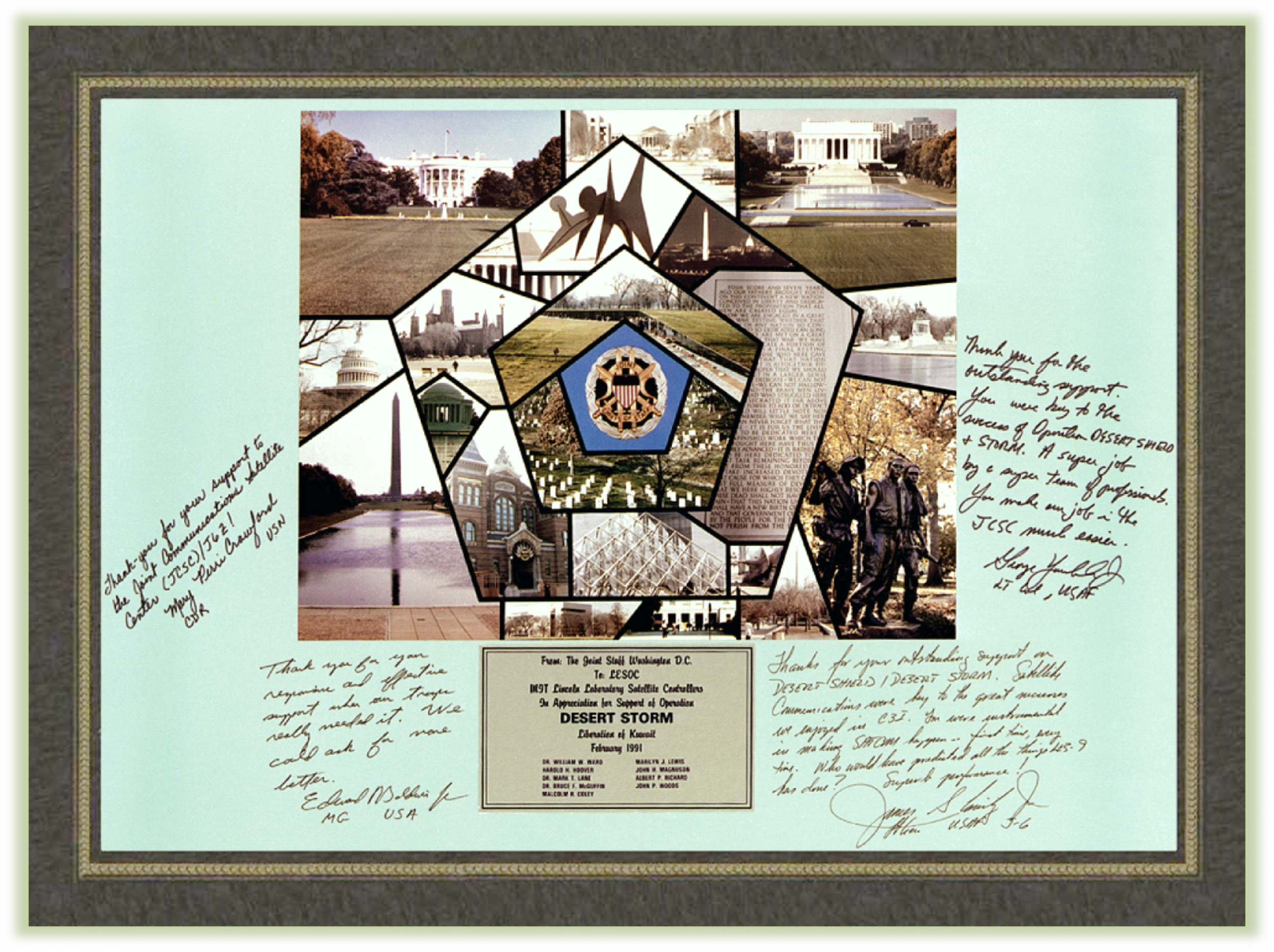 A photo of an award plaque with signatures on it for the Lab's work to support Desert Storm.