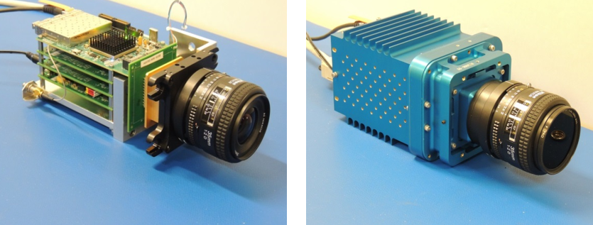 The Dual-Mode Imaging Receiver camera lens and electronics are seen on the left. The image at right shows the camera in the aluminum housing designed for extreme environments.