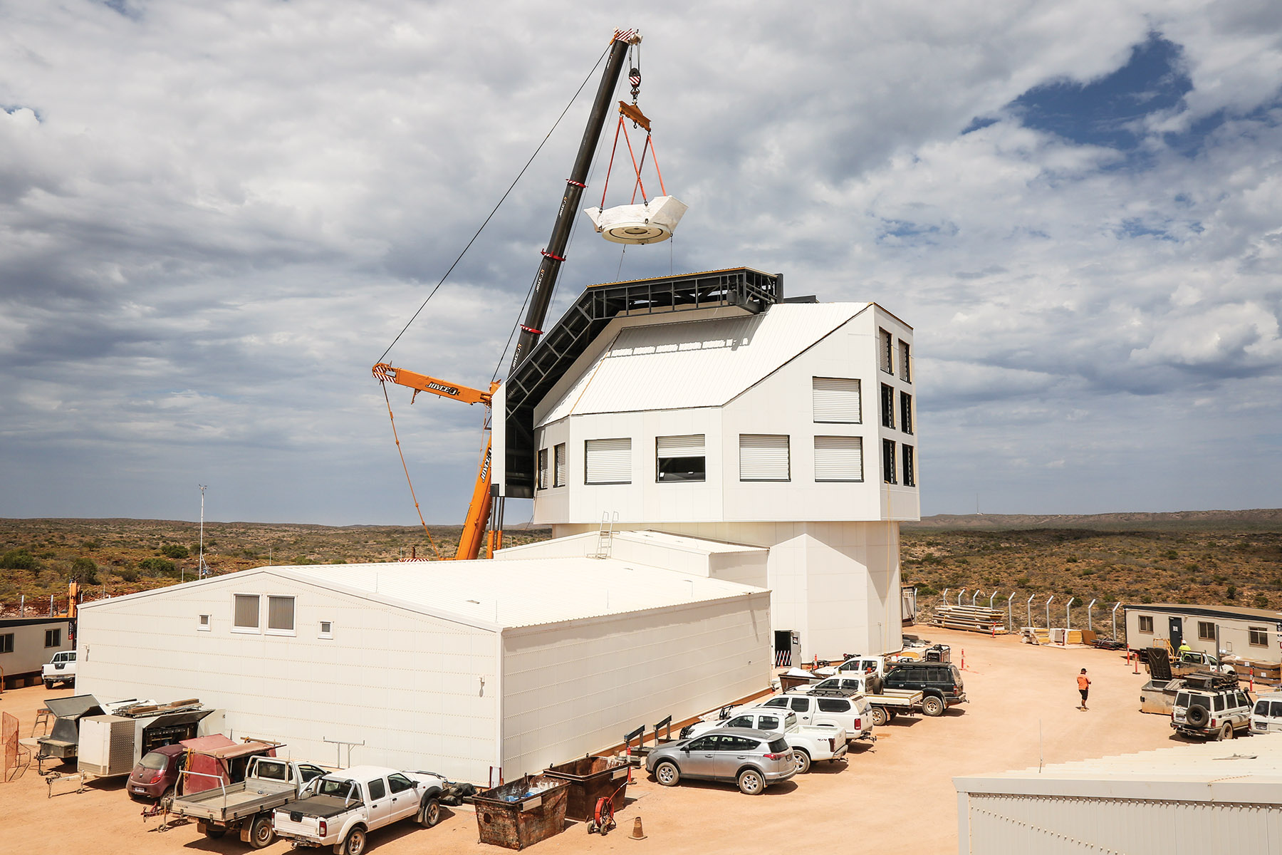 The photograph shows the new facility under construction to house the Space Surveillance Telescope in Western Australia.