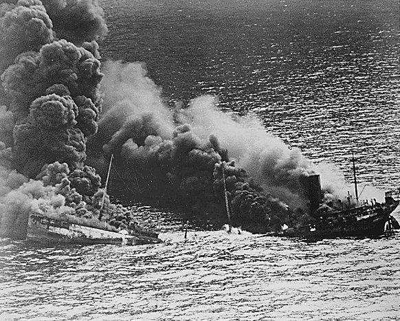 Allied tanker burning following U-boat attack.