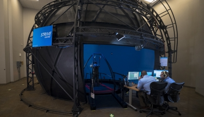 Lincoln Laboratory is conducting health and performance research in its Computer Assisted Rehabilitation Environment (CAREN) dome in the new Sensorimotor Technology Realization in Immersive Virtual Environments (STRIVE) Center.