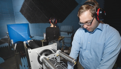 Laboratory researchers operate a shock tube in an anechoic chamber to quantify blast-wave propagation effects as part of the Laboratory's traumatic brain injury and auditory health research.