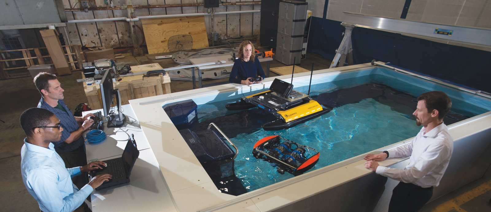 Staff use the maritime autonomy test tank to demonstrate and test prototype technology for unmanned undersea vehicles.