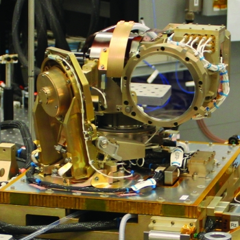 Shown here is the optical module of the space terminal, a 10-centimeter Cassegrain telescope.