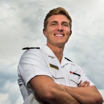 U.S. Naval Academy midshipman Luke Ledva worked on a MATLAB project with mentors in Lincoln Laboratory's Systems and Architectures Group.