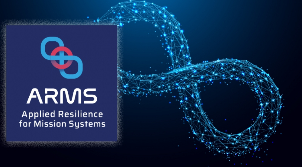 "an illustration of an infinity symbol with label of ""ARMS: Applied Resilience for Mission Systems"""