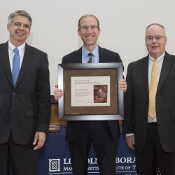 Robert Atkins (right), Head, Advanced Technology Division, introduced Daniel Ripin (center) at the awards ceremony; Director Eric Evans presented the award. Photo: Glen Cooper