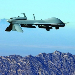 Flying unmanned aerial vehicle.