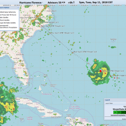 Screenshot of the HURREVAC application during Hurricane Florence.