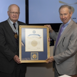 William Delaney was presented with the 2019 Eugene G. Fubini Award for years of providing exemplary scientific and technical guidance to the Department of Defense. Photo: Office of the Secretary of Defense Public Affairs