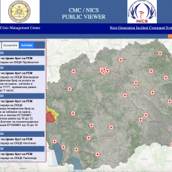 A screenshot of a website showing a google map of North Macedonia with Red Cross symbols placed throughout to signify their locations. A panel on left hand side provides info about how to contact these locations.