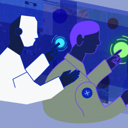An illustration of two figures sitting in front of abstract computer screens. The figure on the right is a human and is clicking on a notification. The figure to the human's left represents an AI teammate and is patting him on the back.