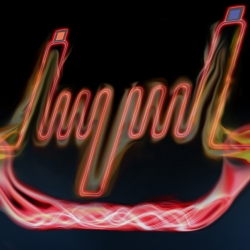 Image of neonlike glowing red lines on a black background