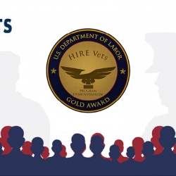 The HIRE Vets Gold Medallion Award, given by the Department of Labor, acknowledges the Laboratory's efforts to employ veterans.