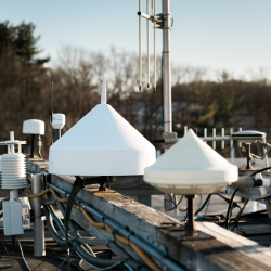 The GPS antenna farm provides the laboratory with live-sky access to GPS satellite signals.