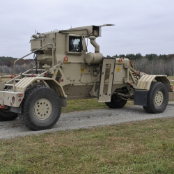 The Husky Mark III vehicle was deployed to Afghanistan for operational evaluation of the GPR's ability to find buried devices.