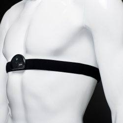 The commercial chest strap is equipped with the Laboratory-prototyped sensor hub. The sensor hub takes physiological measurements, which are used to estimate a strain index. This index indicates if the wearer is at risk for a heat-related illness.