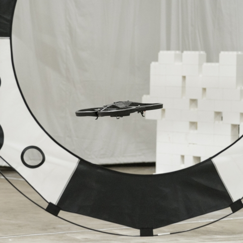 A drone navigates the obstacles in the Autonomous Drone Race challenge.