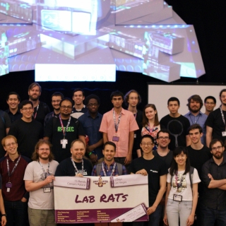 Thirty-eight Lab RATs, weary after 52 hours of hacking competitors' computer networks, posed for a team photograph at the DEF CON Capture the Flag competition held at Caesar's Palace in Las Vegas, Nevada. Photo: Wilson Wong