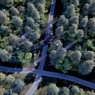 in this computer-generated image, a UAV flies over a forest and road in pursuit of a vehicle.