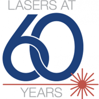 "a logo that says ""Laser at 60 Years"" in blue lettering with a red laser underlining 60."