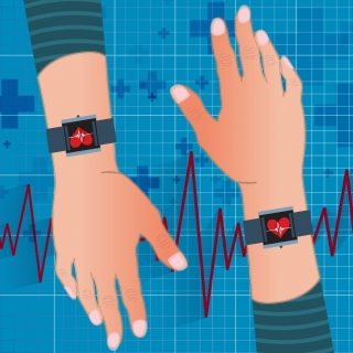 an illustration of two arms with a wearable health tracker on each wrist, and a pulse line in the background.