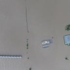 aerial photo of a flooded area with building roofs visible.