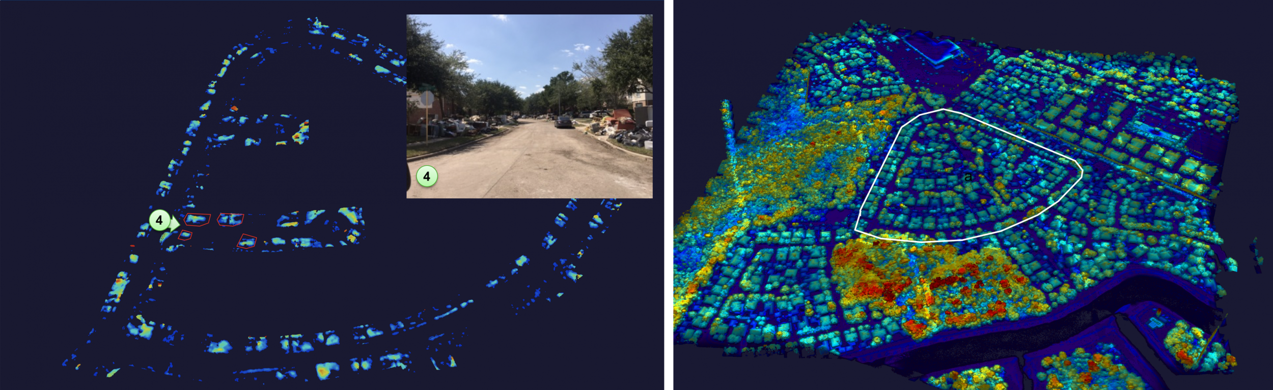 On the left is an Airborne Optical Systems Test Bed 3D ladar image of a Houston suburb. The processed image on the right shows a zoomed-in view, with the houses, foliage, road, and background elements filtered out to reveal piles of debris.