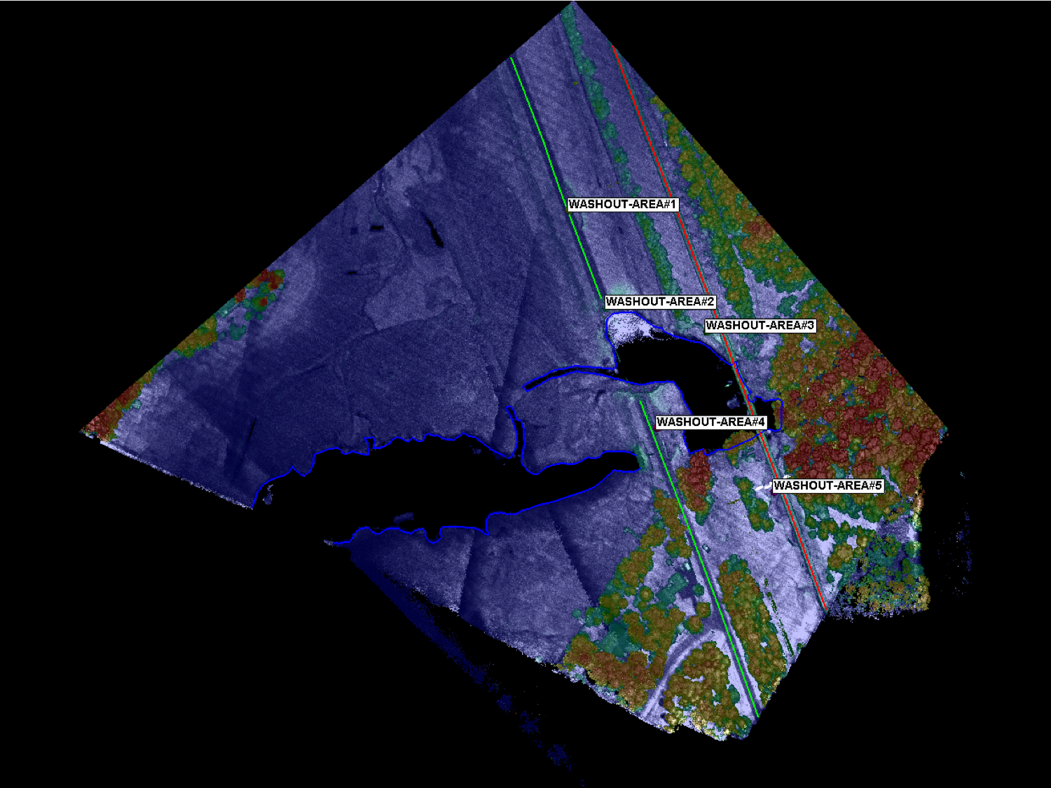 lidar image overhead of a lake and road