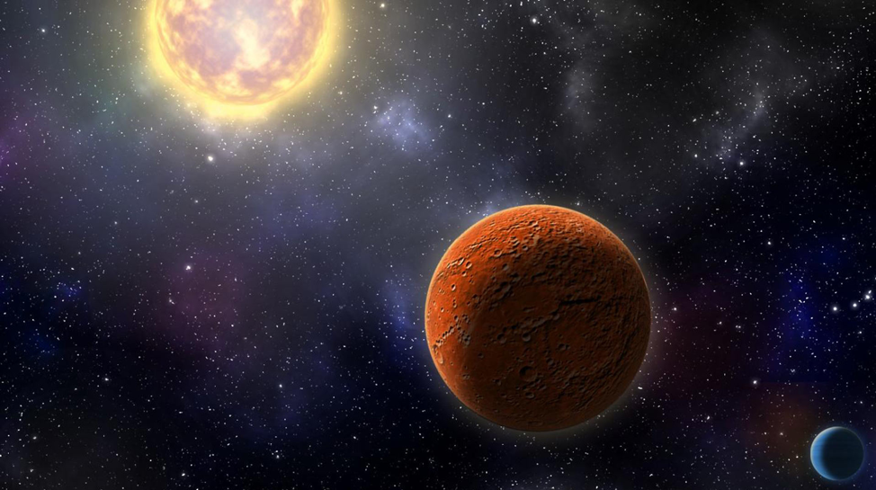 An illustration of a large red planet and small blue planet orbiting a sun