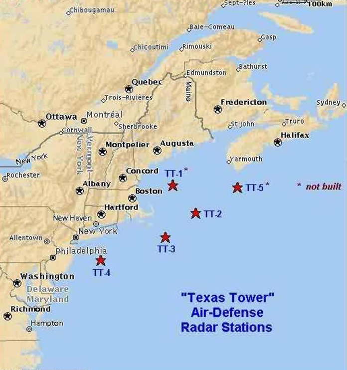 The sites of the Texas Tower radars are shown. Map courtesy of the Air Defense Online Radar Museum, www.radomes.org/museum