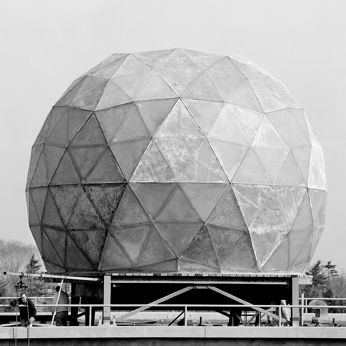 Geodesic radome, first developed at Lincoln Laboratory for DEW Line radars.