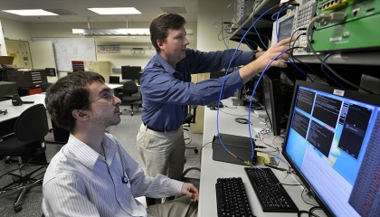 Staff can use a private wireless network to research mobile device technology in the Mobile Device Lab.