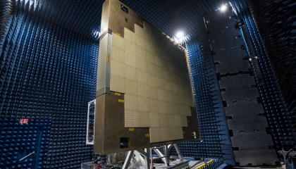 In the large near-field scanner chamber, the full-scale Multifunction Phased Array Radar prototype undergoes beam pattern testing.
