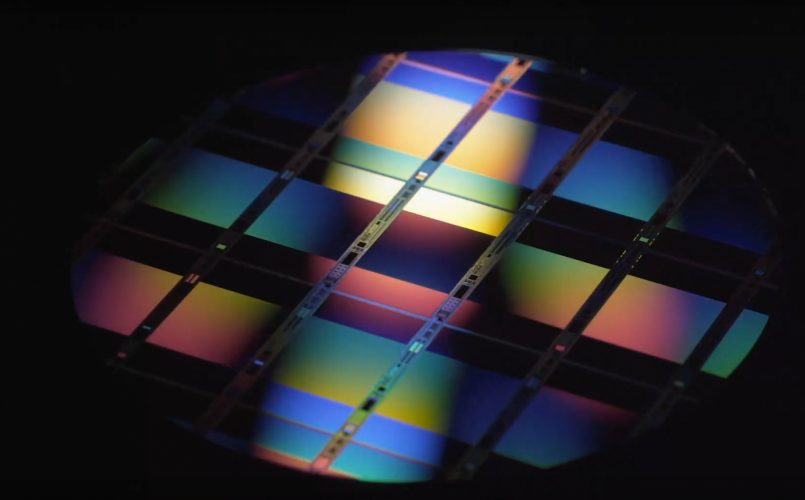 a photo of a multicolored wafer.