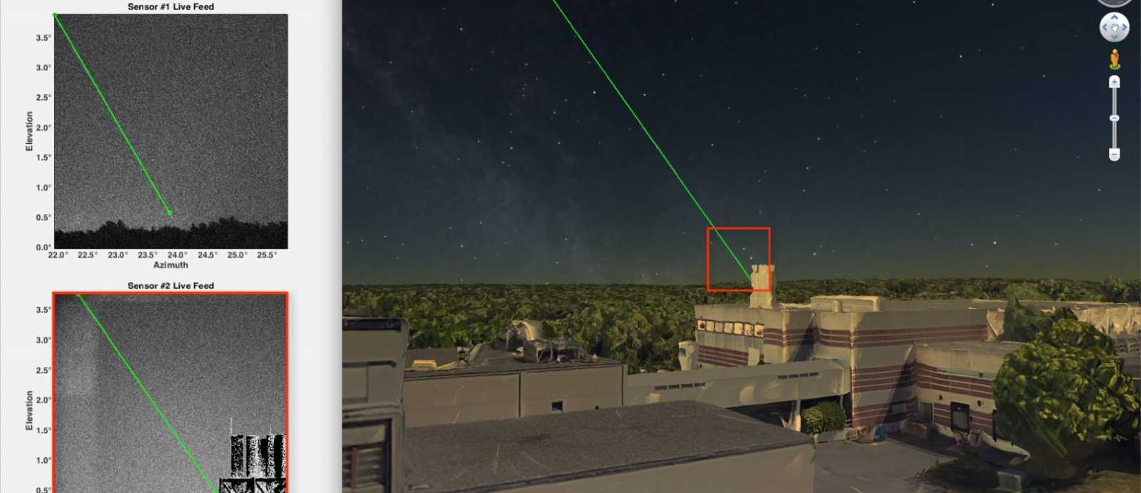 The LASSOS display screen highlights the laser strike event in live sensor imagery and generates a 3D model of the laser streak in Google Earth. Image courtesy of the research team.