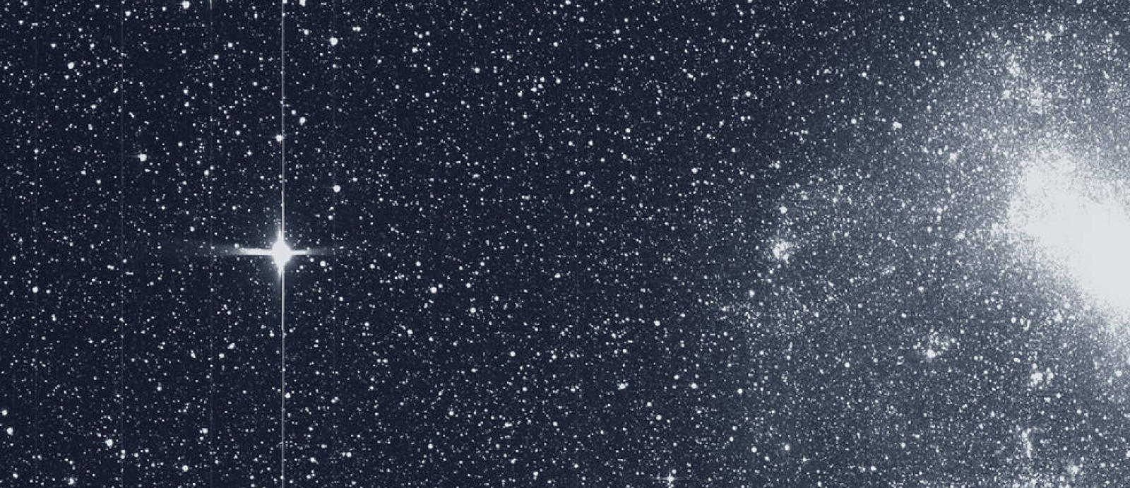 Captured image of the Large Magellanic Cloud and bright star R.