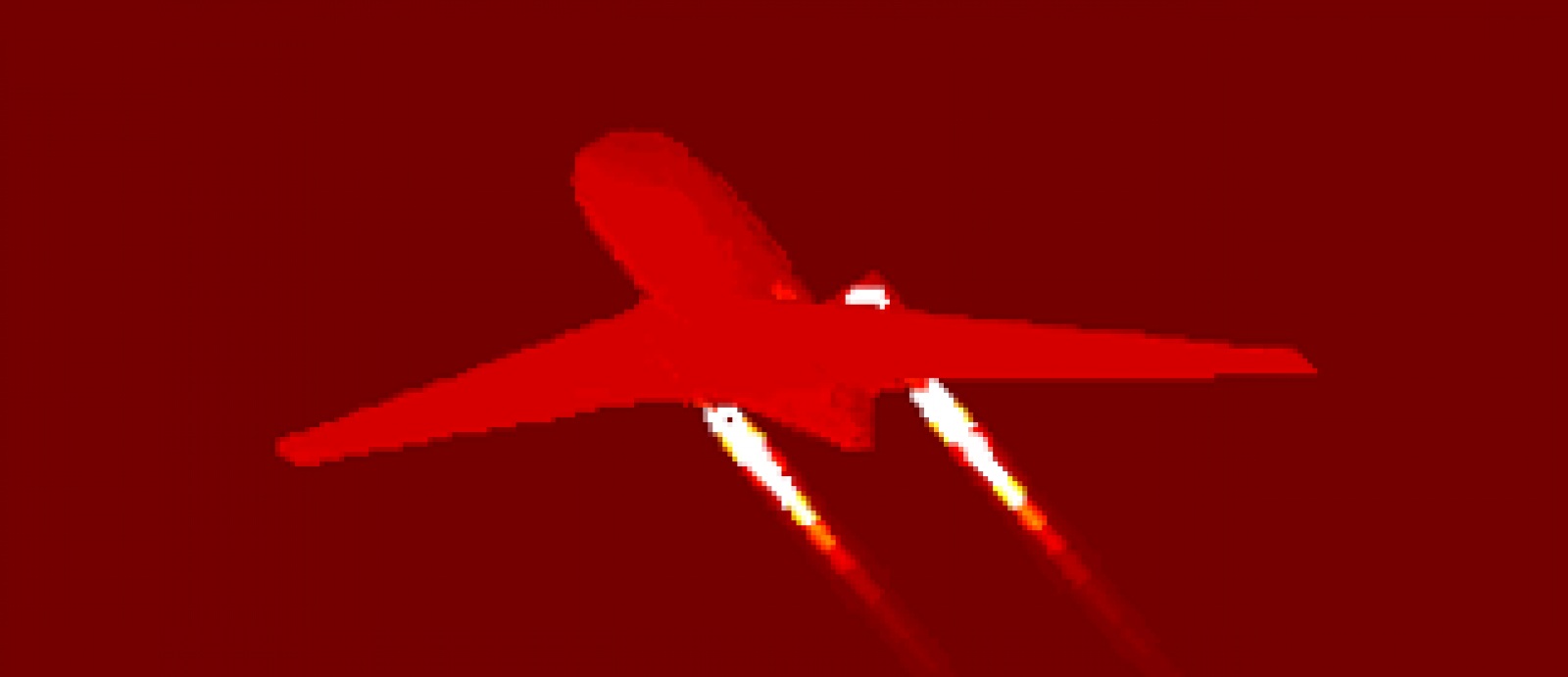 Modeled infrared signature of an aircraft.