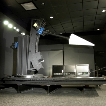 The white cone with its high reflectivity is a good target for testing an optical system's capability to image an object. The cone is installed on a target manipulator created by Lincoln Laboratory engineers.