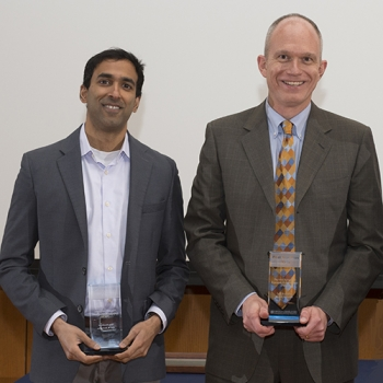 Suraj Bramhavar, left, and Paul Juodawlkis received 2016 Best Invention trophies for their development of the Photonic Integrated Resonant Accelerometer. Photo: Glen Cooper