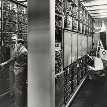 The Whirlwind computer, seen here in the Barta Building on the MIT campus, was the precursor to the computer developed to accommodate the demands of the SAGE system.