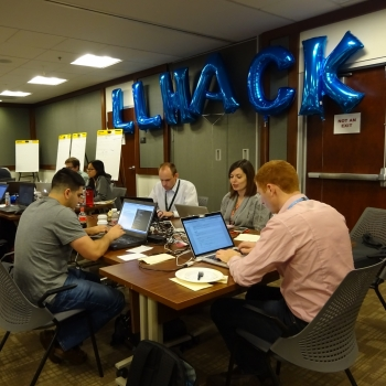 "During the Technology Office challenge to develop an automated system that detects fake news, a team of ""hackers"" evaluates the reliability of news items."