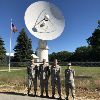 These participants in the Space Tactics Internship spent part of their instructional time at the L-band Millstone Hill radar in Westford, Massachusetts.