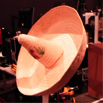 This ladar image above is of the sombrero seen here in a test setup.