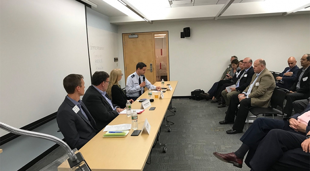 Israel Soibelman, center left, joined by Brad Pantuck, Navy Rapid Innovation Fund, Charlene Stokes, MITRE Corporation, and Michael McGinley, Defense Innovation Unit Experimental.