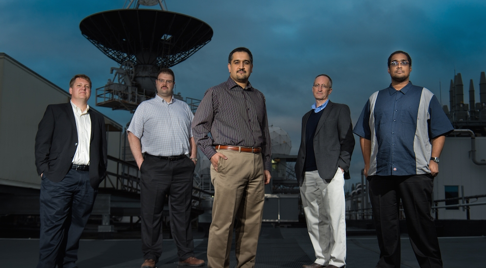 The team working on a robust rerandomization technique for protecting networks from cyber attacks is, left to right, James Landry, David Bigelow, Hamed Okhravi, William Streilein, and Robert Rudd. Photo: Glen Cooper