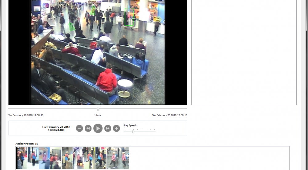 The Forensic Video Exploitation and Analysis interface enables security personnel to highlight a person of interest and then reconstruct the path of that individual across multiple camera views.