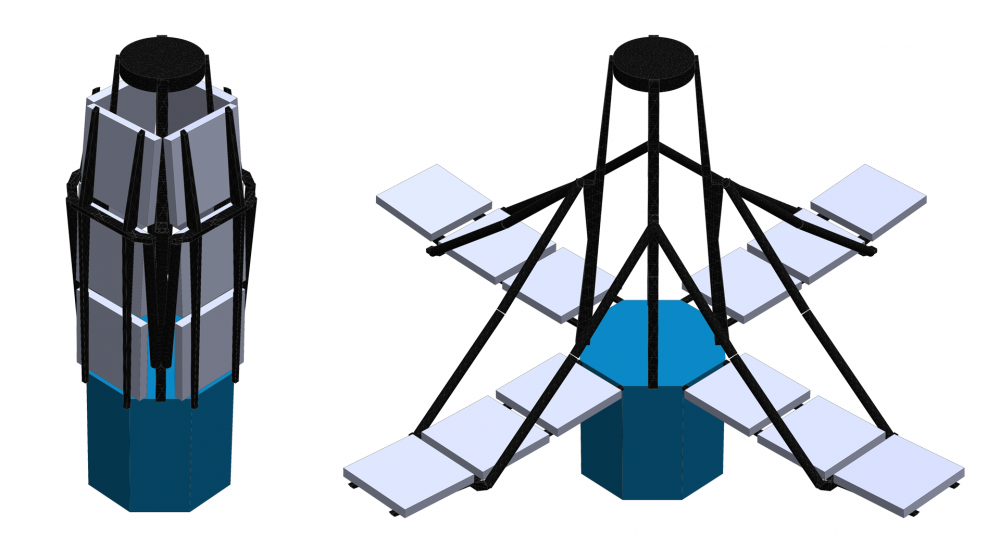 For installation aboard a launch vehicle, a space telescope using technology developed for DISCIT will fold up into the compact shape seen at the left, but will expand its segmented sparse subapertures, right, once deployed.