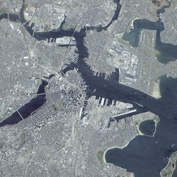 The panchromatic-sharpened, natural color image of Boston above was generated from data collected during a 23 April 2001 scan by the Advanced Land Imager (ALI).