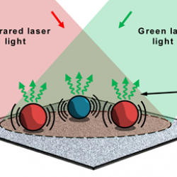 Multiple species of micron-sized particles are simultaneously illuminated by an infrared laser and green laser beam. Absorption of infrared laser light increases their temperatures, causing them to expand and slightly altering their optical properties.